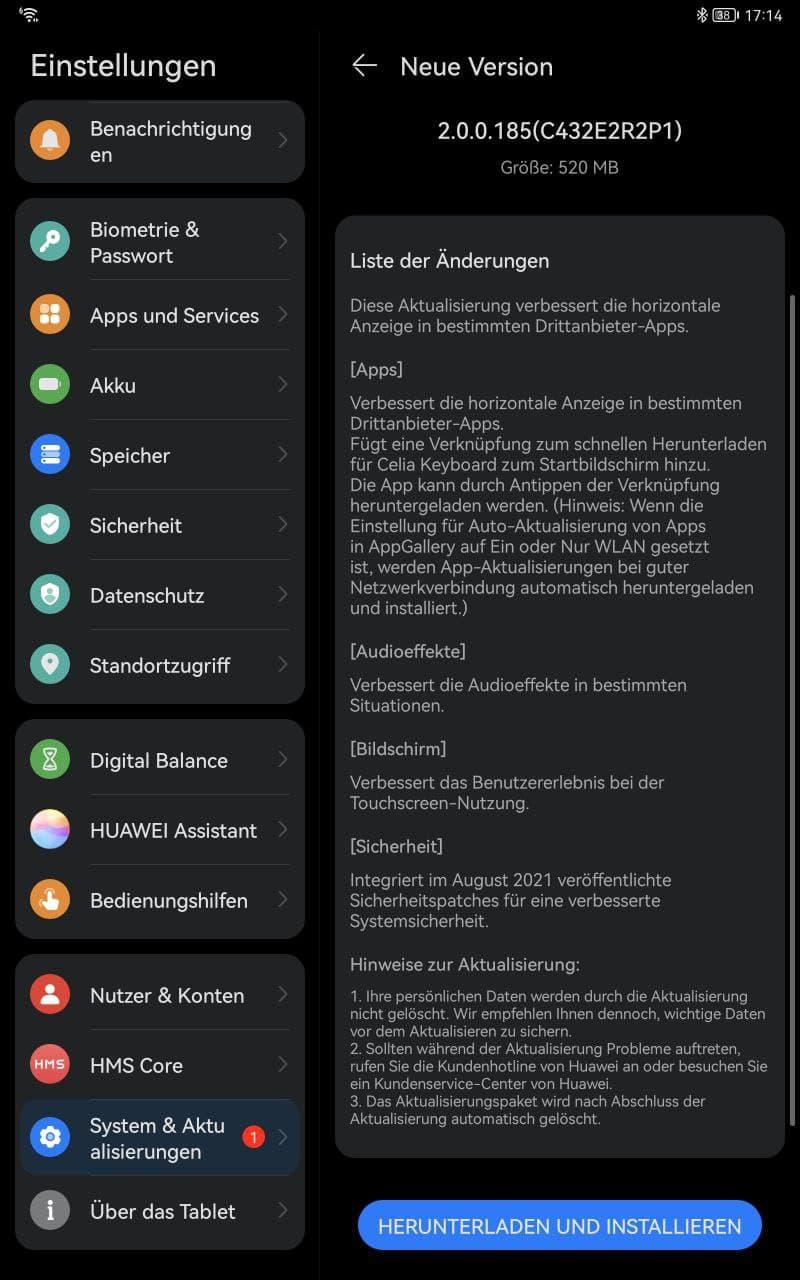 Huawei MatePad 11 HarmonyOS 2.0.0.185