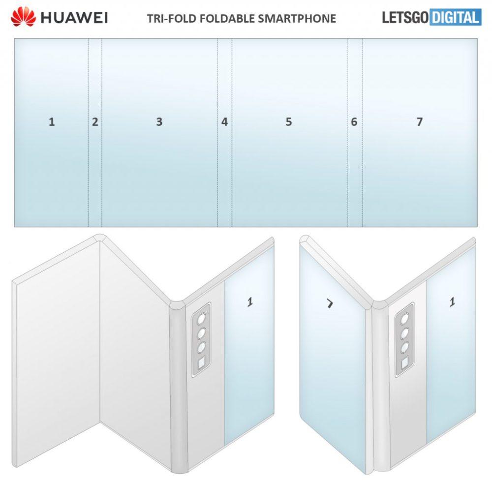 Huawei foldable smartphone with tri-fold display
