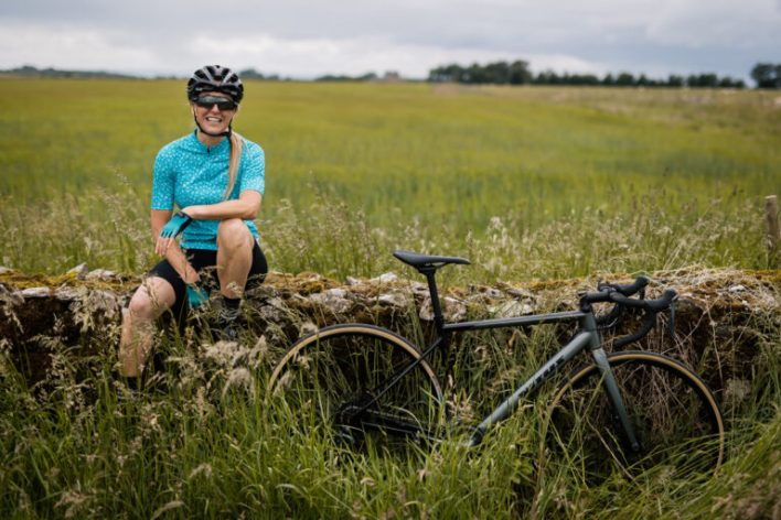 A cyclist enjoying a rest