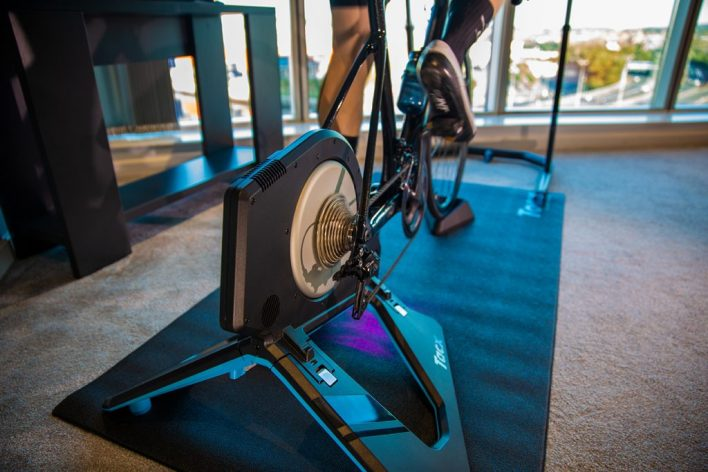A Tacx Neo turbo trainer being put to good use in Zwift