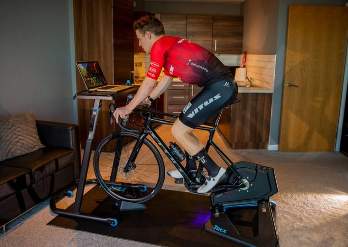 A rider turbo training using Zwift