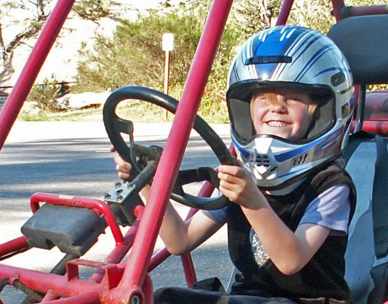 Picture of Daelynn in the dune buggy