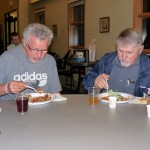 picture of Grandpas eating lasagna