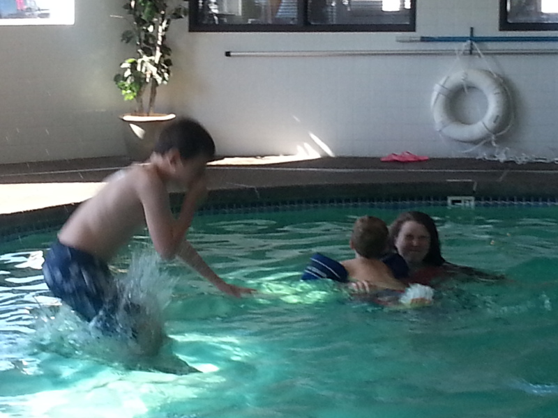 Swimming at the hotel in Newberg