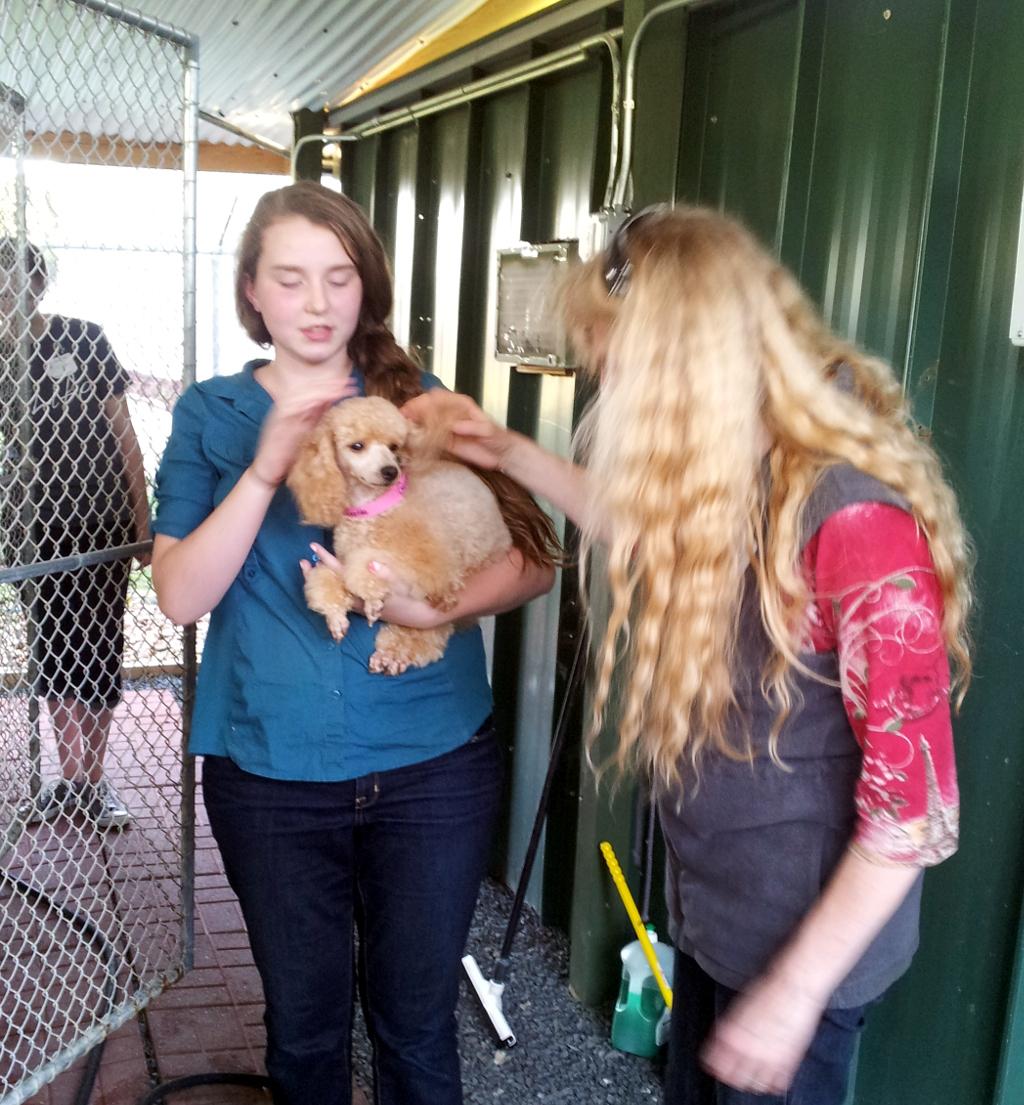 Mikaela with dog