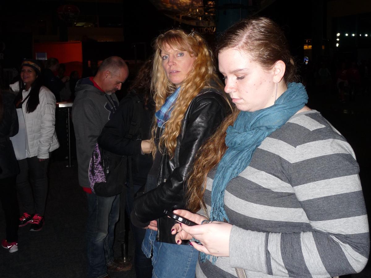 Picture of Lori and Danaya waiting in line