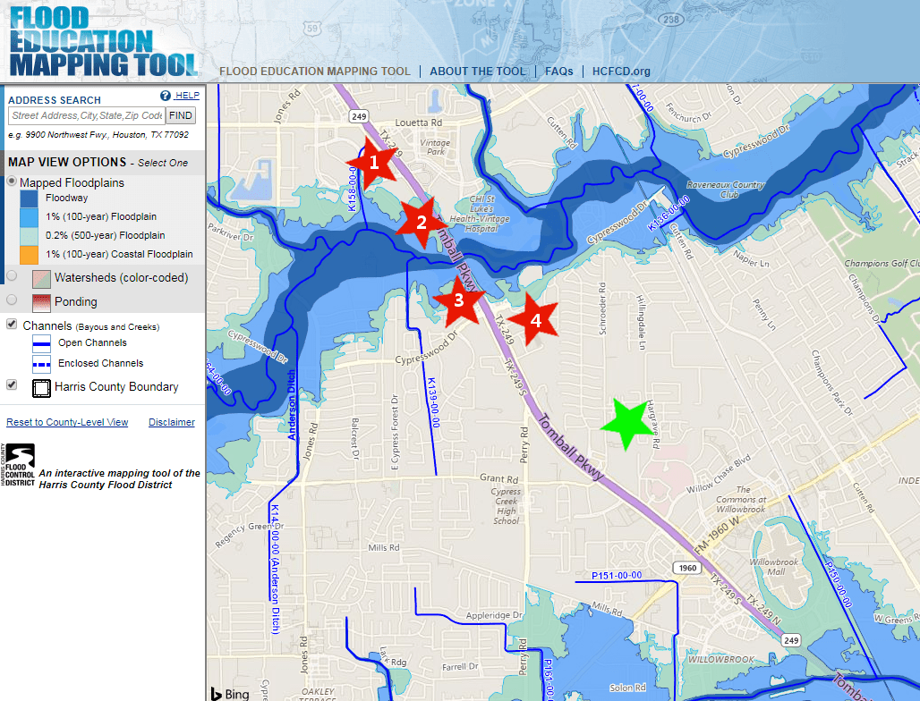 Flood plain map of North Houston area
