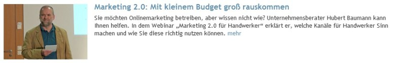 Marketing 2.0 - mit kleinem Budget erfolgreich Marketing betreiben (von Hubert Baumann)