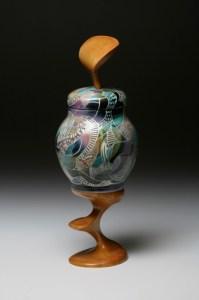 13. wood carved jar