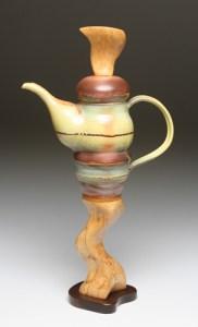 dark wood foot teapot