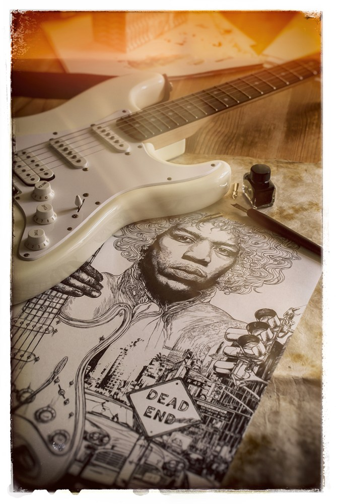 jimi hendrix illustration still life image 3
