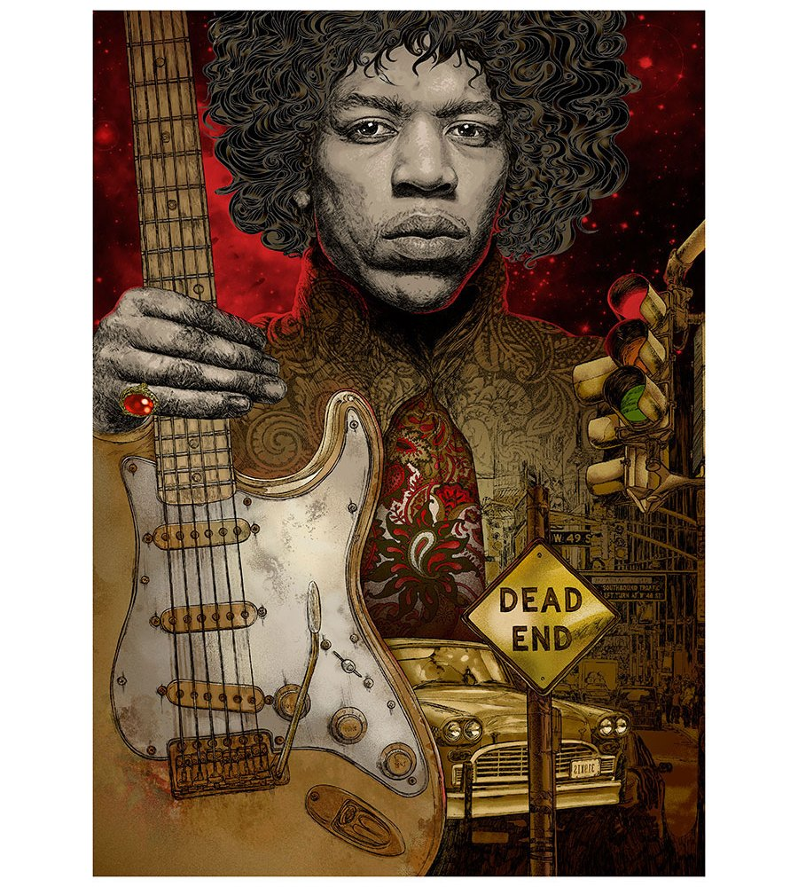 jimi hendrix giclee print the end of the traffic by hubert fine art