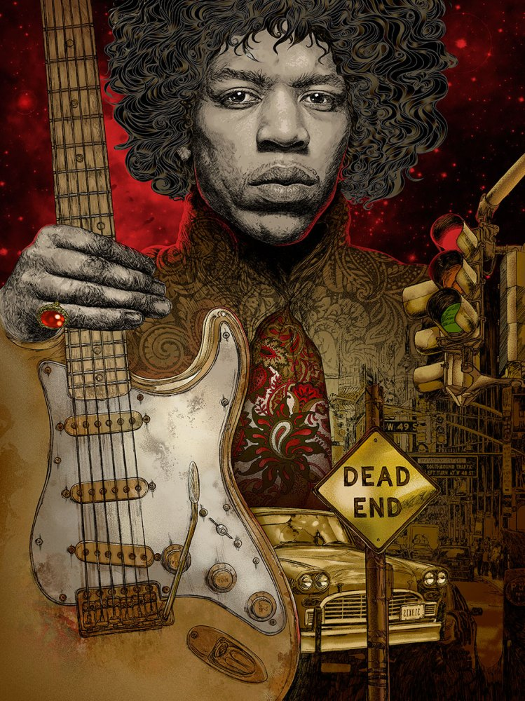 jimi hendrix portrait illustration