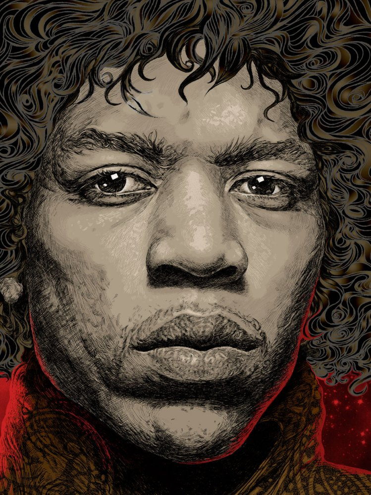 jimi hendrix portrait illustration 6