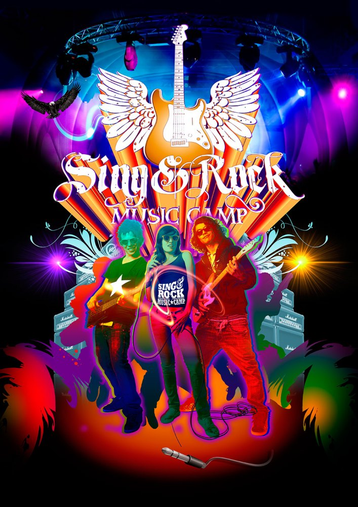 sing and rock music camp poster design