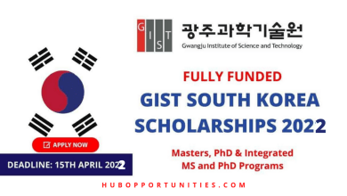 Photo of GIST International Scholarships 2022 in South Korea – Fully Funded