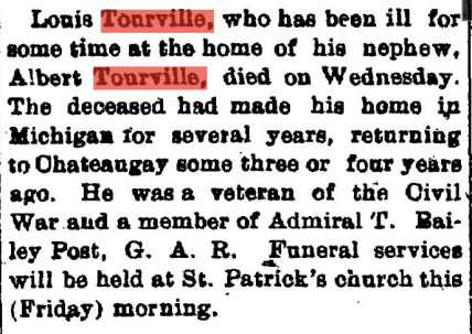 Louis Tourville Obituary - March 29, 1912 - Chateaugay Record and Franklin Democrat
