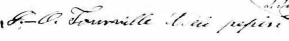 Octave's and Adèle's signature on their marriage record, Notre-Dame, Montréal, February 12, 1850