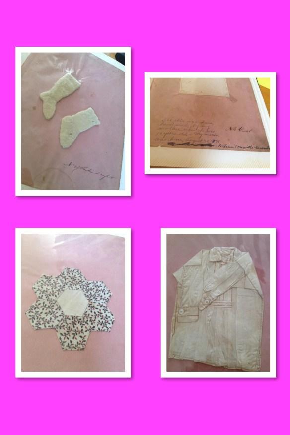 Travaux de couture réalisés par Évélina à l'âge de 10 ans