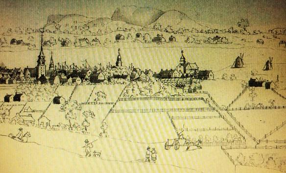 Montréal, vers 1800. Panorama depuis un flanc du mont Royal. Archives du Musée McCord / Richard Dillon, (1772-1856), dessin (détail).