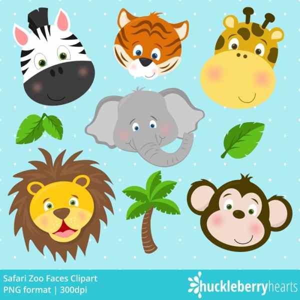 Safari Zoo Faces Clipart | Huckleberry Hearts