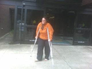 Jen on crutches