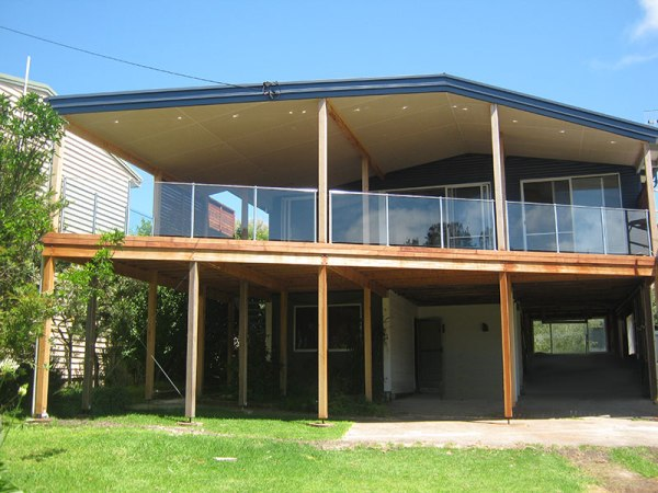 New deck with glass handrail