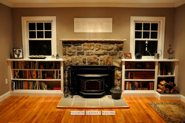 fireplace bookshelves with wood storage - Fireplaces With Bookshelves