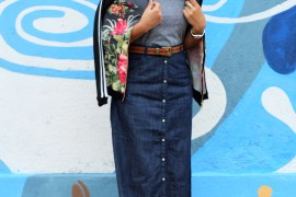 Fall look, Styling denim skirt