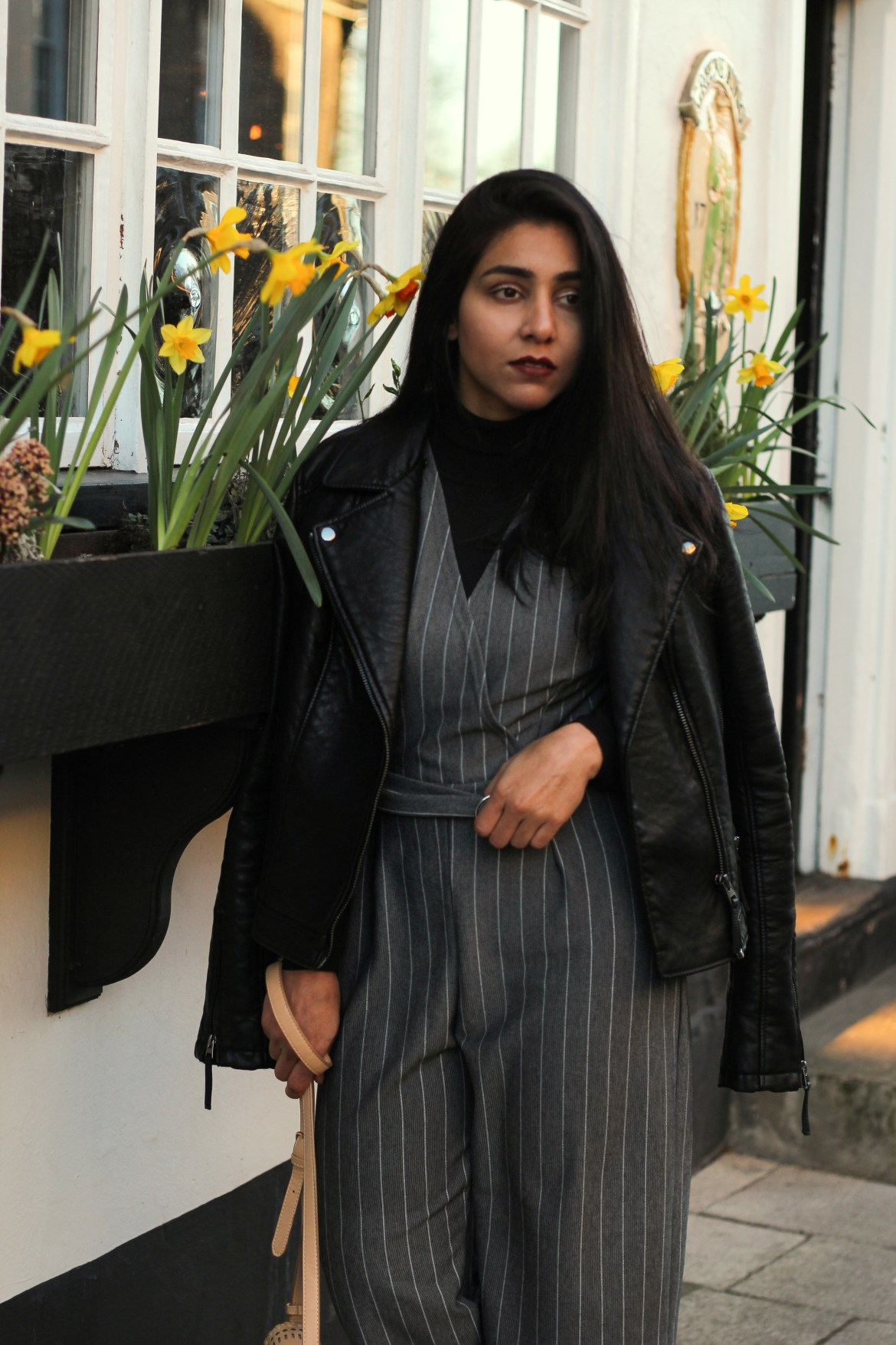 Huesofme Fashion blog, Norwich blogger, leather and Pinstripe spring trend, 2017 spring trend, Fashion blogger in UK, UK fashion blogger, Streetstyle blog