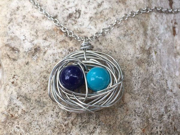 blue pair bird nest necklace