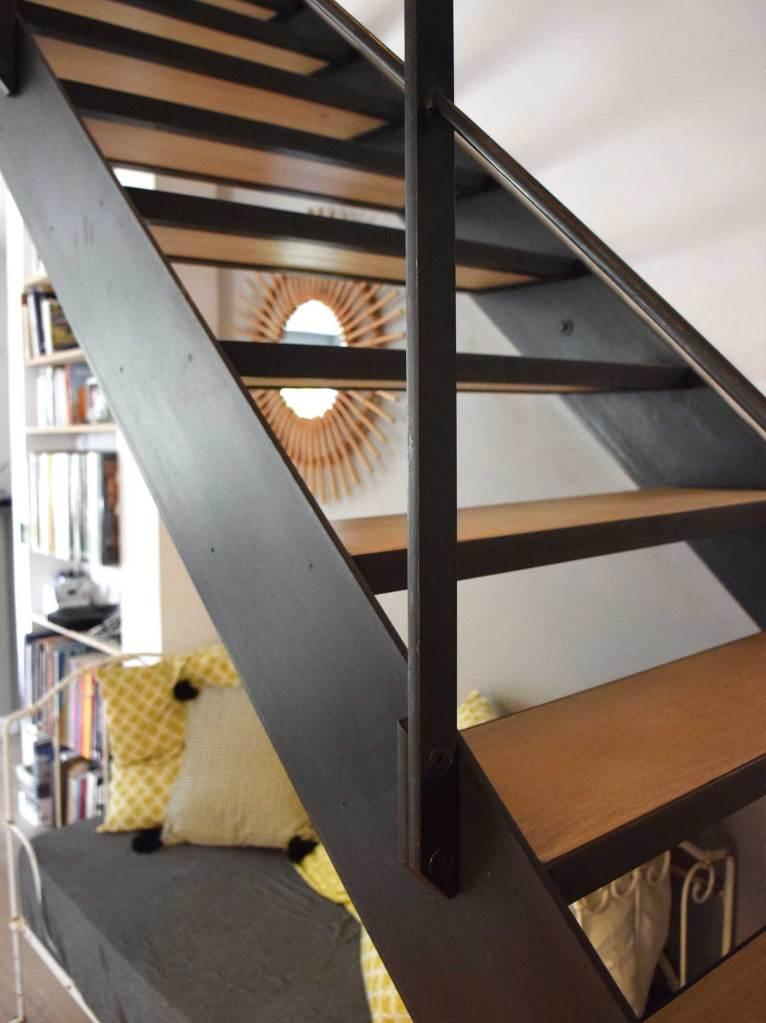 escalier contemporain métal - bois - hugo ferronnerie