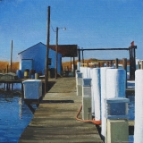 "<h5>Blue Dock ll</h5><p>Oil on board, 13¾"" x 13¾"" (35 x 35cm)</p>"