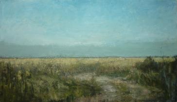 """<h5>Promenade d'été </h5><p>Oil on canvas, 44¾"""" x 76¾""""</p>"""