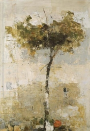 """<h5>Tree by the wall</h5><p>Oil & wax on canvas, 51"""" x 35½""""</p>"""