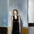 "<h5>Mademoiselle II</h5><p>Oil on canvas, 15 ¾ x 15 ¾"" (40 x 40cm)</p>"