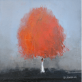 """<h5>Red Tree</h5><p>Oil on canvas, 15 ¾ x 15 ¾"""" (40 x 40cm)</p>"""