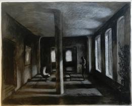 """<h5>La Colonne study</h5><p>Charcoal on paper, 25"""" x 35"""" (64cm x 89cm)</p>"""