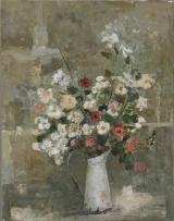 "<h5>Ġoxwa ""Flowers""</h5><p>Oil and wax on canvas 57½"" x 45""																																																																																																																																																									</p>"