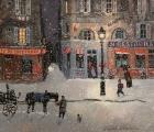 """<h5>Rue de Bretagne, soir de neige</h5><p>Acrylic on board, 10"""" x 11½""""</p>"""