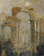 """<h5>Palmyra</h5><p>Oil and wax on canvas, 57½"""" x 45""""</p>"""