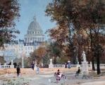 "<h5>Dans le Jardin du Luxembourg</h5><p>Acrylic on board, 13"" x 16"" (33 x 40.75cm)</p>"