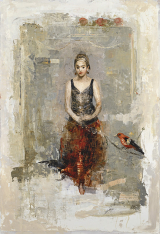 "<h5>The Red Skirt</h5><p>Digigraph: Monoprint with oil and wax on board, 51 x 35 ½"" (129 ½ x 89cm)																																																																																																																																																																																																																																											</p>"