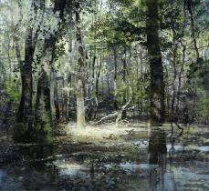 """<h5>L'esprit des lieux</h5><p>Mixed media on canvas  (47¼"""" x 51"""", 120 x 130cm)</p>"""