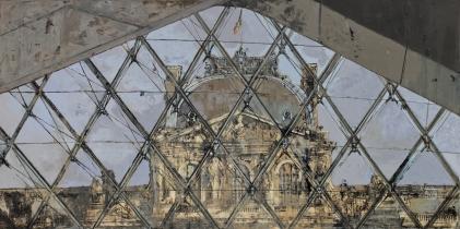 """<h5>Le Louvre</h5><p>Oil on Canvas. 38"""" x 77"""" (97 x 196cm)</p>"""