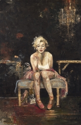 "<h5>Marilyn in the Studio</h5><p>Oil and wax on canvas, 76 ¾ x 51"" (195 x 130cm)																																			</p>"
