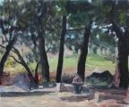 """<h5>Le Dessinateur - Étude</h5><p>Oil on canvas, 19¾"""" x 24"""" (50 x 61cm)</p>"""