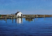 "<h5>Dock and Shack</h5><p>Oil on linen, 32 x 45 ½"" (81 x 116cm)</p>"