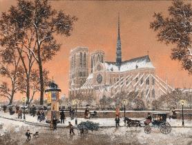 """<h5>Premiere Neige sur Notre Dame</h5><p>Acrylic on canvas, 23 ¾ x 31 ½"""" (60 x 80cm)</p>"""
