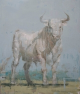 "<h5>Toro Blanco no. 2</h5><p>Oil on canvas, 70"" x 60"" (177.8 x 152.4cm)</p>"